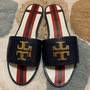 Tory Burch Leather Slides Navy Blue